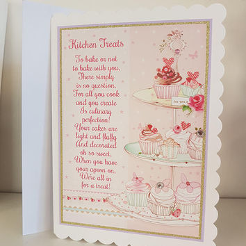 Kitchen poem-cupcakes-shabby chic-greetings card-great for all ages-birthday card- handmade blank card baker friendship card- my friend