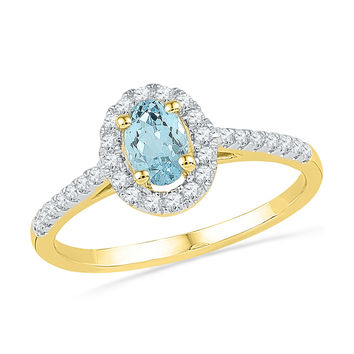 10kt Yellow Gold Womens Oval Lab-Created Aquamarine Solitaire Diamond Ring 1/5 Cttw 101198
