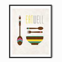 Kitchen Art, Eat kitchen decor Print Tribal, Minimal Vintage Wood Cottage Chic Folk Hipster Rustic Nursery Country Retro modern Bowl spoons