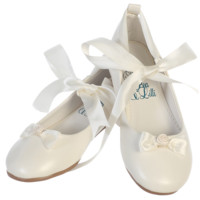 Ballerina Flats with Satin Ribbon Tie Ivory Dress Shoes (Toddler & Girls Sizes)