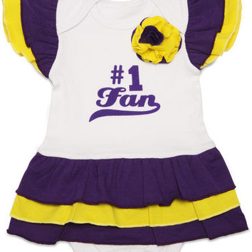 Purple & Gold #1 Fan Baby Onesuit Dress