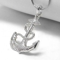 "Anchor and Rope White Gold Plated Pendant 17"" Necklace"