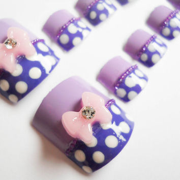 Minnie Mouse Purple Polka Dot Fake Nails for Toes with 3D Bows
