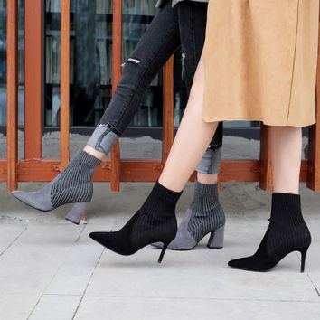 Sweet Female 904 Autumn Women's Mid-calf Chunky High-Heeled Boots Woman Shoes Star Sexy Pointed Toe Boots stretch sock boots