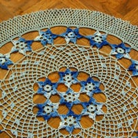Table Top Decor - Stars In The Sky - Crochet Art Decor - Blue Star Decor - French Country Decor - Blue Shabby Chic Decor - Table Centerpiece