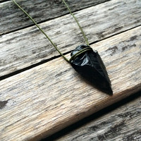 The Night's Watch: Dragonglass dagger necklace - And now my watch begins - Real obsidian arrowhead - Game of Thrones jewelry-Volcanic glass