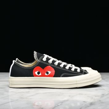 Best Sale CDG PLAY x CONVERSE CHUCK TAYLOR ALL STAR '70 OX - BLACK