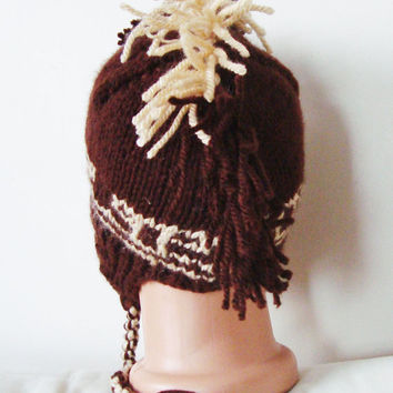Hand Knit Mohawk Hat  Mens or Womens Hat in Brown and Beige