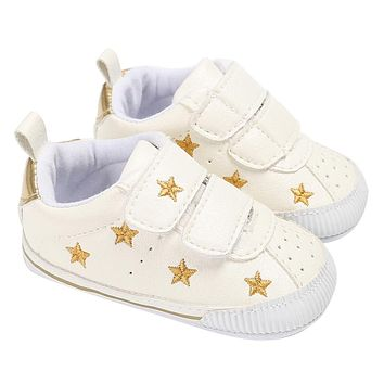 Newborn First Walkers Baby Boys Girls Anti Slip Shoes Sneakers Infants Gold Stars Pattern Soft Sole Prewalkers PU Leather Shoes