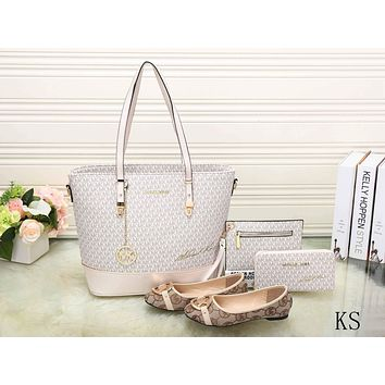 MK Fashion Casual Women Shopping Leather Tote Handbag Shoulder Bag Purse Wallet Single shoe Set  Four-Piece G-KSPJ-BBDL