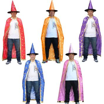 NoEnName Free shipping Christmas Costumes Witch Wizard Cloak Cosplay with Hat Cap Stars 8 Halloween Fancy dress for adult