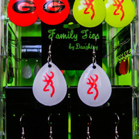 a 'LURE' ng Earrings, fun, bright, light weight, dangle earrings with image of your choice. Team colors, monograms, Logos and more.