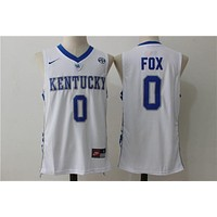 NCAA University Basketball Jersey Kentucky Wildcats # 0 DeAaron Fox White