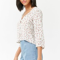 Floral Button-Front Shirt