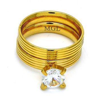Stainless Steel Wedding Ring, with Cubic Zirconia, Gold Tone