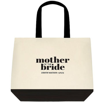 Black  MOTHER of the BRIDE Bridal Gift -  Bride Gift - Customizable Large Canvas Mother of the Bride Shoulder Bag