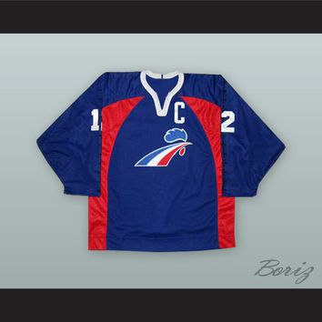 Philippe Bozon 12 France Blue Hockey Jersey
