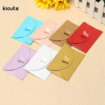 5 Pcs Retro Butterfly Small Colored Pearl Blank Mini Paper Envelopes Wedding Party Invitation Envelope DIY Gilt Envelope