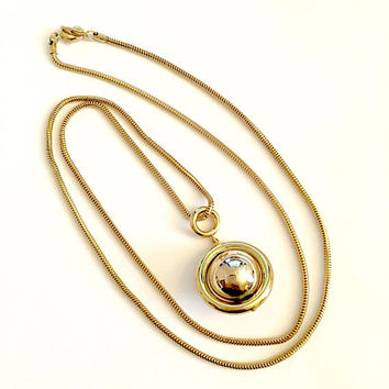 Vintage 1980's Signed Liz Claiborne 35 Inch Gold Toned Necklace with Ball Pendant