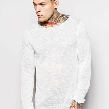 ASOS Longline Long Sleeve T-Shirt With Asymmetric Hem In Slub