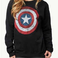 Black Round Neck Shield Print Loose Sweatshirt