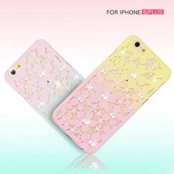 Stereo gradient color matte pearl flower hollow petals mobile phone case for iphone 6 6s 6plus 6s plus + Nice gift box!