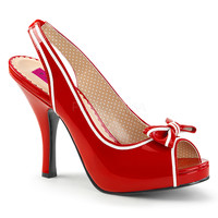 "Pin Up 10 Red Patent Slingback 4.5"" Heel White Trim"