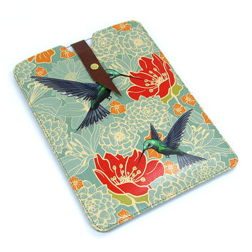 Leather iPad Mini case - Hummingbirds in floral bliss
