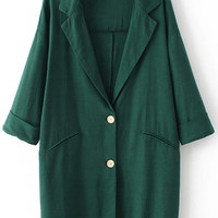Green Notched Collar Half Sleeve Buttons Pockets Blazer