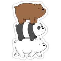 'We Bare Bears - Bear Stack' Sticker by rustybeef