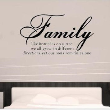 Hot Family Like Branch Room Decals Removable Art Black Vinyl Wall Sticker SM6