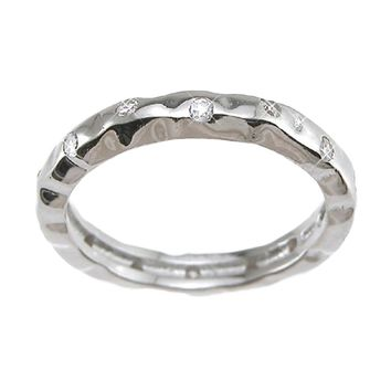 Plutus Brands 925 Sterling Silver Rhodium Finish CZ Brilliant Fashion Wedding Band 0.1 Carat Weight- Size 7