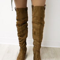 All The Way Up Tan Suede Over The Knee Boot