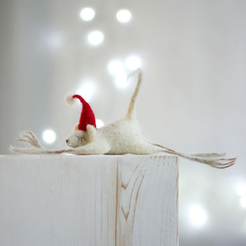 Needle Felt Mouse - Christmas Decoration - Christmas Dreamy Felt Mouse With A Red Hat -Needle Felt Art Doll - Mouse Miniature