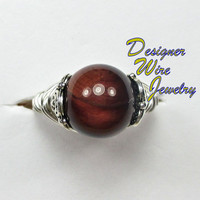 DWJ0167 Gorgeous Genuine Red Tiger Eye Wire Wrap Ring - All Sizes
