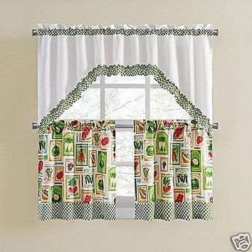 "3 Piece Vegetable Print Kitchen Curtain Set With Swag and 24""L Tiers"