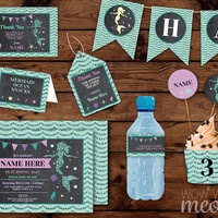 Mermaid Party Package Birthday Invitations INSTANT DOWNLOAD Pink Teal Glitter Under The Sea Banner Printable Collection Editable Personalize