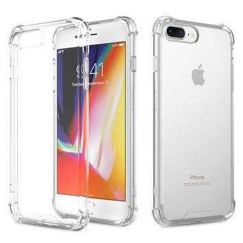 For iPhone 7 Plus Case /iPhone 8 Plus Case, MoKo Crystal Clear Reinforced Corners TPU Bumper Cushion + Hybrid Rugged Transparent Panel Cover for Apple iPhone 7 Plus / 8 Plus - Crystal Clear
