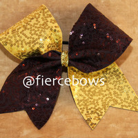 Brown and Gold Sequin Cheer Bow