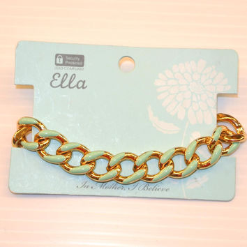 Mint and Gold Chain Link Bracelet