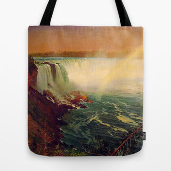 Bierstadt Albert. Niagara Falls.  Vintage landscape oil painting. Tote Bag by ArtsCollection