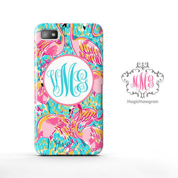 Peel and Eat Flamingo Lilly Pulitzer Monogram Blackberry Case Z10, BB Q10 Case