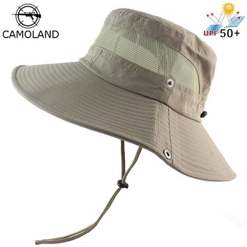 Mesh Bucket Hat Summer Men Women Fishing Boonie Hat UV Protection Long Large Wide Brim Bob Hiking Sun Hat Outdoor Cap Breathable