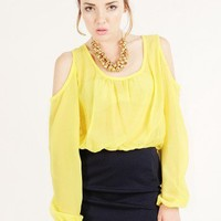 YELLOW CUT OUT COLORBLOCK DRESS @ KiwiLook fashion