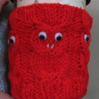 handknit cabled owl cup cozie red by KnitsYoursKnotMine on Zibbet