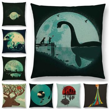 Hot Sale Magical World Unknown Loch Ness Monster Colorful Pure Curiosity Cushion Cover Sofa Throw Pillow Case Big Octopus Zombie