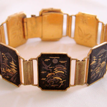 Vintage Amita Japan Damascene Panel Bracelet / Black Enamel With Gold Inlay / Oriental / Asian /  Jewelry / Jewellery