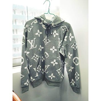 LV Louis Vuitton men and women tide velvet long-sleeved hooded sweater sweater F