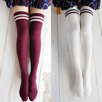 New 2 Colors Womens College Striped Wind Thigh High Stockings Over The Knee for Girls 60cm