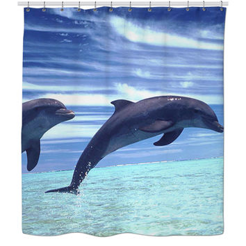 Dolphins Swimming Shower Curtain.